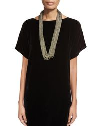 Eileen Fisher - Black Sparkle Knit Scarf Necklace - Lyst