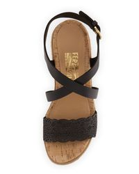 Ferragamo Black Gioela Espadrille Wedge Sandal