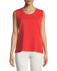 Misook Red Petite Scoop-neck Wrinkle-resistant Knit Tank Top