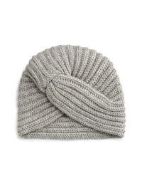 Rosie Sugden - Gray Cashmere Turban-style Beanie Hat - Lyst
