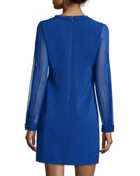 Elie Tahari | Black Pencey Long-Sleeved Shift Dress | Lyst