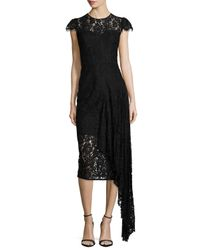 MILLY Black Margaret Asymmetric Lace Dress