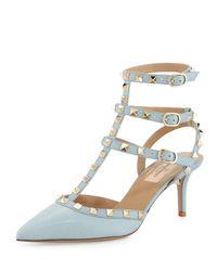 Valentino Blue Rockstud Leather Mid-heel Pump