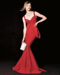La Petite Robe Di Chiara Boni Red Dixie Sleeveless V-neck Peplum Mermaid Gown
