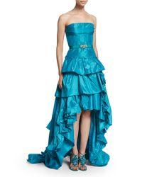 Oscar de la Renta   Blue Strapless Tiered-ruffle High-low Gown   Lyst
