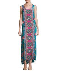 Tolani   Blue Kendall Sleeveless Floral-print Maxi Dress   Lyst