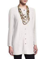Eileen Fisher White Long Silk Button-front Blouse