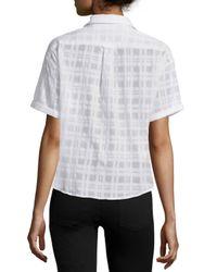 Burberry Brit - White Short-sleeve Sheer Tonal Check Shirt - Lyst