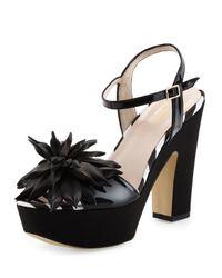 kate spade new york | Black Alerina Too Patent Platform Sandal | Lyst