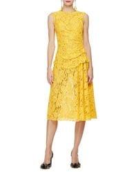 Oscar de la Renta - Yellow Sleeveless Gathered-Waist Lace Dress - Lyst