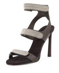 Brunello Cucinelli | Metallic Monili Triple-strap High-heel Sandal | Lyst