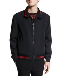 Lanvin | Black Zip-up Bomber Jacket With Striped Trim for Men | Lyst