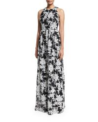 David Meister | Multicolor Sleeveless Crewneck Floral Chiffon Gown | Lyst
