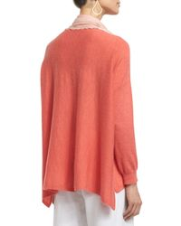 Eileen Fisher Pink Long-sleeve Featherweight Cashmere Box Top