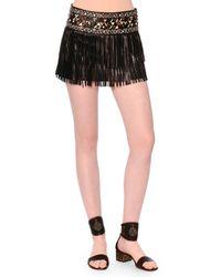 Valentino Black Leather Fringe Mini Skirt W/painted Waistband