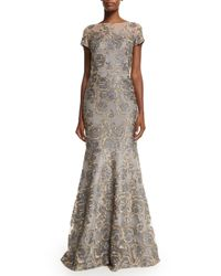 David Meister | Gray Short-sleeve Floral Jacquard Mermaid Gown | Lyst