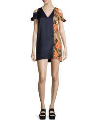 MSGM   Black Floral-trim Hammered Satin Cold-shoulder Mini Dress   Lyst