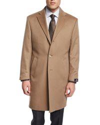 Neiman Marcus | Brown Cashmere Button-down Long Coat for Men | Lyst