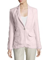 Neiman Marcus | Pink One-button Fitted Linen Blazer | Lyst