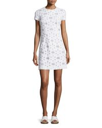 Michael Kors White Short-sleeve Floral-applique Dress