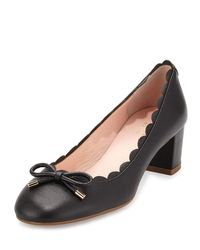 kate spade new york | Black Yasmin Scalloped Leather Pump | Lyst