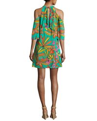 Trina Turk - Multicolor Spirit Cold-shoulder Printed Silk Mini Dress - Lyst