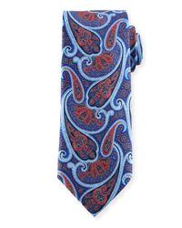 Ermenegildo Zegna | Blue Paisley-print Silk Tie for Men | Lyst