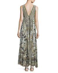 Camilla - Green Embellished V-neck Maxi Dress - Lyst