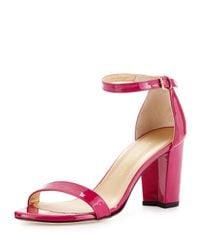 Stuart Weitzman   Pink Nearlynude Patent City Sandal   Lyst