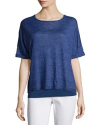Eileen Fisher | Blue Short-sleeve Delave Linen Top | Lyst