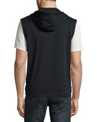 John Varvatos - Black Terry Knit Zip-front Hooded Vest for Men - Lyst