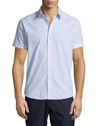 Theory   Blue Coppolo C. Durhem Mini-check Short-sleeve Shirt for Men   Lyst