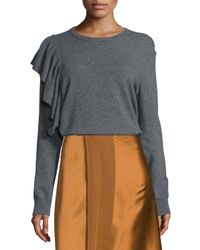 Elizabeth and James - Gray Orly Ruffle-trim Pullover Sweater - Lyst