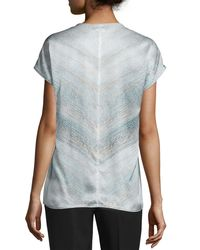 Lafayette 148 New York - Blue Zane Short-sleeve Silk Chevron Blouse - Lyst