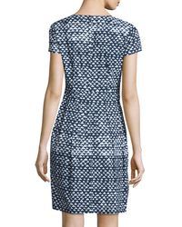 Lafayette 148 New York - Blue Gina Short-Sleeved Geometric-print Cotton-Blend Dress - Lyst
