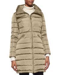 Moncler | Natural Flammette High-neck Puffer Coat | Lyst