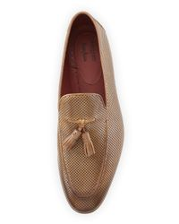 Neiman Marcus | Brown Perforated Leather Tassel Loafer for Men | Lyst
