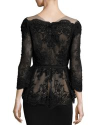 Marchesa Black Off-the-shoulder Beaded Lace Peplum Top