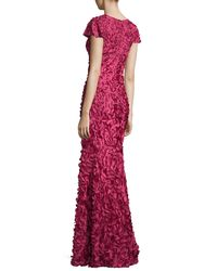 THEIA - Metallic Cap-sleeve Petal-appliqué Gown - Lyst