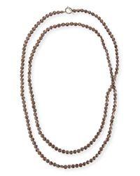Brunello Cucinelli - Brown Hematite Beaded Long Necklace - Lyst