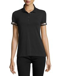Burberry Brit - Black Slim-fit Polo Shirt With Check Trim - Lyst