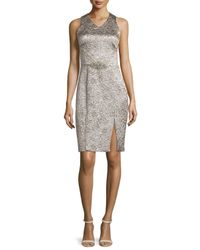 THEIA - Metallic Sleeveless Shimmery Cocktail Dress - Lyst
