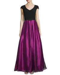 THEIA - Black Cap-sleeve Colorblock Embellished Gown - Lyst