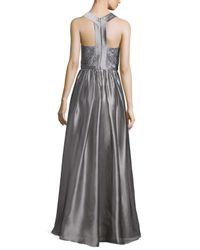 THEIA - Gray Sleeveless Jewel-neck Metallic Gown - Lyst