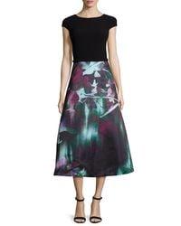 THEIA - Black Cap-sleeve Combo Midi Dress - Lyst