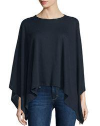 Neiman Marcus | Blue Double-face Cotton/cashmere Knit Poncho | Lyst