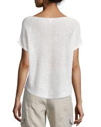 Eileen Fisher | White Short-sleeve Bateau-neck Linen Box Top | Lyst
