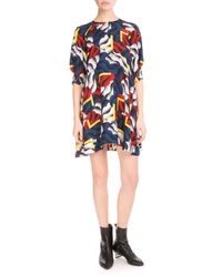 KENZO - Black Small Clouds & Corners Chiffon Dress - Lyst