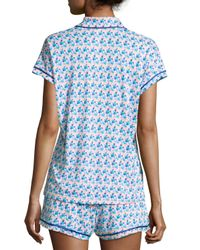 Cosabella White Bella Printed Cap-sleeve Pajama Set