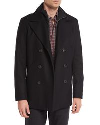 Theory | Black Mercer Double-breasted Pea Coat for Men | Lyst